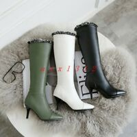 Women Pointy Toe High Stiletto Heel Pull On Knee Boot Shoe Fashion Party Lace