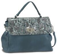 Betty Barclay Clara Henkeltasche Leder Tasche Damen Überschlagtasche blau