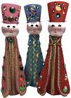 Vintage Three Wise Men Kings Felt Sequin Bead Handmade Christmas Bottle Figures