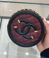 NIB 100% Authentic 2019 Chanel Caviar Round Clutch With Chain Crossbody Bag