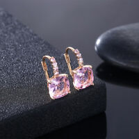 PINK Earring Made with Swarovski Crystal  Square Gold Leverback Drop Earrings