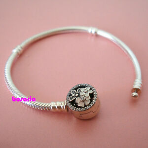 925 Sterling Silver Poetic Blooms Mixed Enamels & Clear CZ Charm Bracelet