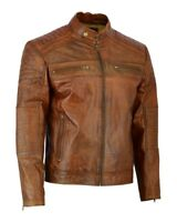 MENS Vintage Cafe Racer Distressed BROWN Genuine Leather Biker Slim Fit Jacket
