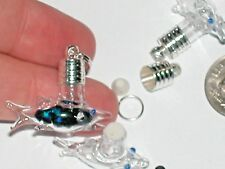 1 Glass Shark Ocean fish bottle vial charm Jaws bead necklace bead charm pendant