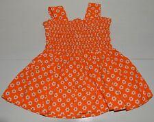 Vêtement enfant ancienne robe à smocks orange fille été vintage 70'S