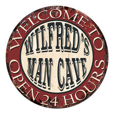 Cpm-0436 Wilfred'S Man Cave Open 24hrs Chic Tin Sign Man Cave Decor Gift