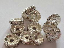 25 CLEAR RHINESTONE RONDELLE SPACER BEADS 10MM JEWELLERY CRAFTS XMAS