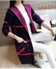 LADIES LONG CARDIGAN KNITTED (BLACK VIOLET)