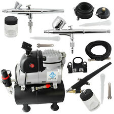 OPHIR 3 Airbrush Kit & Compressor with Tank Set Spray Air Brush Set for Nail Art