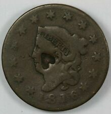 1816 Coronet Matron Head Large Cent 1C - Heart Counterstamp