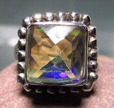 Sterling silver cut rainbow mystic ring UK N½-¾/US 7.25. UK Seller