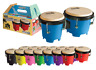 "Mini Bongo Drums RED Dadi 4½"" & 5"" Natural Skins Bongos Kids Girls Toy Gift"