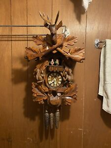 Black Forest Germany Hunter Style Cuckoo Clock W/ Music And Dancers