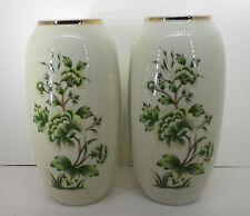 Porzellan Tisch Vasen Paar Blumen grün Hollohaza Ungarn H17cm