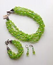 Czech Crystal Necklace  Jewelry-Green-3 Piece Set