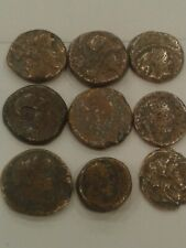 Nice lot of 9 ancient authentic bronze greek coins .faces can be seen .