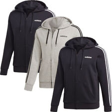 Adidas Mens Hoodies 3 Stripes Sweatshirt Full Zip Hoody Fleece Top Pockets