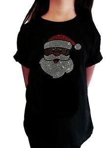 "Girls Rhinestone T-Shirt "" African American Santa Claus "" in All Sizes"