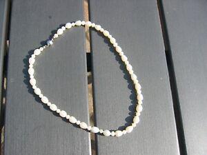 weiße Süßwasserperlenkette Man Sang  geknotet Magnetverschluss 925er Silber gebr