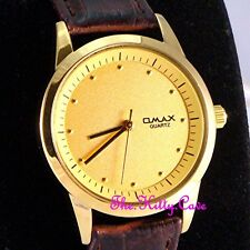 Omax Waterproof Gold Matt Sandblasted Gents Unisex Mahogany Leather Watch SC7603