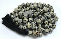 Dalmatian Stone Jasper Mala Beads Gemstone Necklace Jewelry Dalmatian Spotted