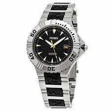 Fendi Men's Nautical Black Dial Stainless Steel/Rubber Automatic Watch F495110