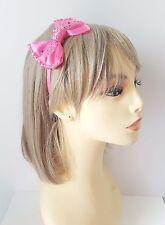 Hermoso Moño Diadema de color de rosa caliente con bonito detalle de Strass-Aliceband