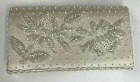 Vintage Ivory Clutch Purse Floral Satin Wedding Flip Hand Seed Bead Hong Kong
