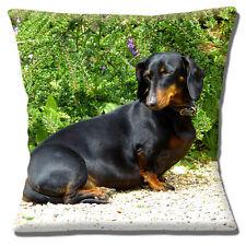 """Sleepy Teckel Chien Housse de coussin 16""""x16"""" 40 cm imprimé photo noir tan dans jardin"""