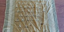 "Women's Scarf Ken Scott 20"" Sailing Boats Tan Olive Hankerchief"