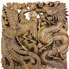 60x60 cm Dragon & Phoenix Wood Hand Carved Panel Plaque Relief Wall Home Decor