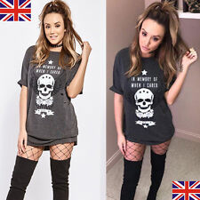 UK Womens Short Sleeve Skull Print T-Shirts Lady Casual Loose Tops Blouse Dress
