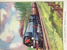 m17a4 ephemera book plate railway steam train engine golden arrow to dover