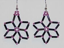 Black & Dark Pink Glass Bead Wired Flower Earrings - NEW