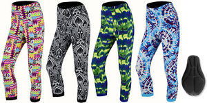 ProAthleticaWomens Padded Printed 3/4 Legging Capri Trousers for Summer Cycling