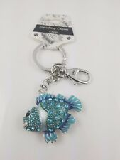 Puzzled Blue Fish Sparkling Charms Chains Keychain