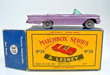 "MATCHBOX RW 39b Pontiac Convertible LILLA METALLIZZATO rara ruote grigie ""C"" BOX"