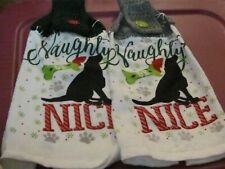 New listing 2 Brand New Hand Crocheted Hanging Kitchen Towels Christmas Dog Naughty/Nice
