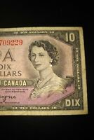 1954 Devil's Face $10 Dollar Bank of Canada Banknote FD6709229 VG-F