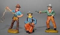 3 Massefiguren 2x Tipple-Topple Wildwest Cowboys 7,5 cm # 449