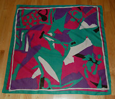 Vtg Ginnie Johansen Abstract Square Scarf Green Pink Cotton Silk Blend 34""