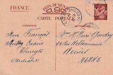 Y65 Carte Postale ENTIER POSTAL  Ecrite 0,90 IRIS oblitération de THUEYTS  1941