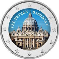2 Euro Gedenkmünze mit  coloriert  Farbe / Farbmünze  Rom Petersdom    / Italien