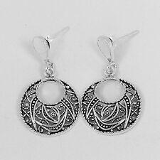 Massiver .925 Sterling oxidiert Silber filigrane Runde baumeln Ohrringe (se361)