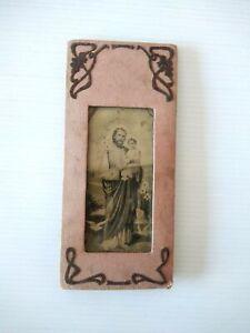 Antico quadro portafoto con SAN GIUSEPPE E GESU BAMBINO 7 X 15 cm con piede