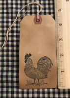 25 LARGE Coffee Stained Primitive ROOSTER CHICKEN Price Hang Gift Tags Lot
