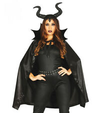 Maleficent Costume Ladies Halloween Fancy Dress Black Cape & Horns Witch NEW