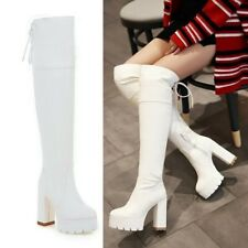 New Women's Platform Over The Knee High Boots Goth Block High Heel Shoes Cosplay