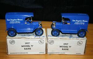 2 VINTAGE ERTL DIE CAST METAL FORD 1917 MODEL T VAN BANK LOS ANGELES TIMES 1/25