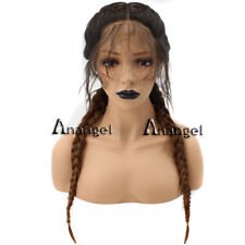 Anogol Synthetic Wigs Braided Lace Front Wig With Baby Hair Brown Long Straight